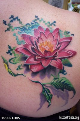 Frog Aqua Tattoo With Pink Flower On Foot