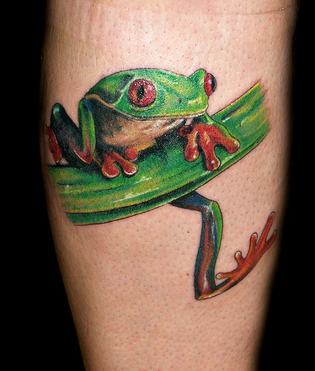 Frog With Red Eyes Tattoo Design