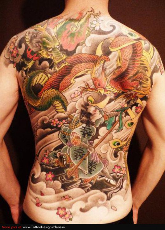 Full Back Asian Tattoo With Color Ink