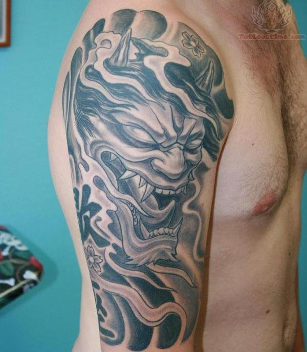 Full Back Japanese Warrior And Tiger Tattoos