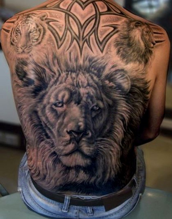 Full Back Lion Tattoo Designs For Men