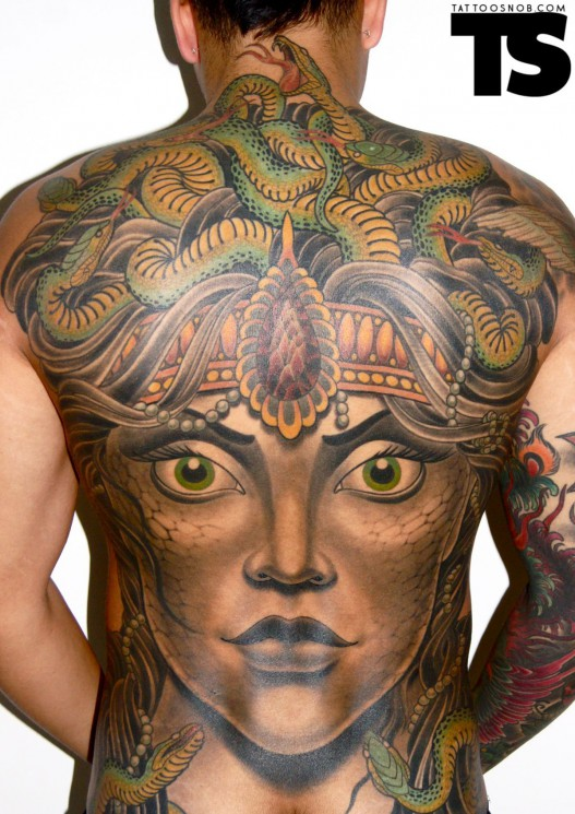 Full Back Medusa Tattoo For Men