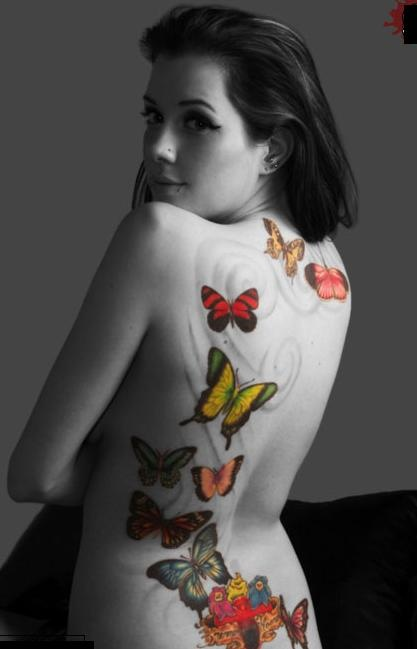 Full Black Color Cat And Butterflies Tattoos