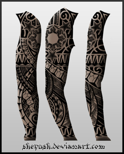 Full Sleeve Aztec Tattoo Design