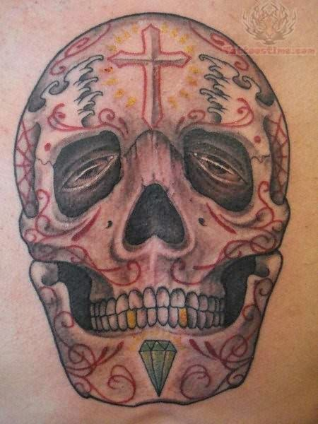 Funky Skull Tattoo Design On Shoulder