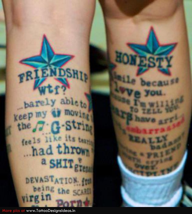 Funny Friendship Tattoo Pictures On Legs