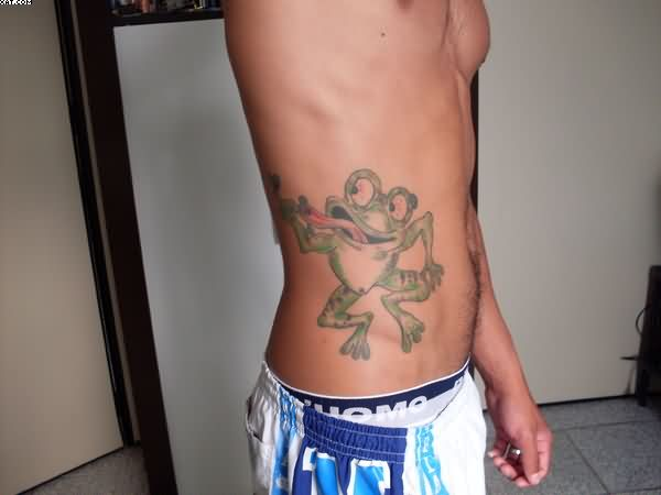 Funny Frog Tattoo On Waist For Guys