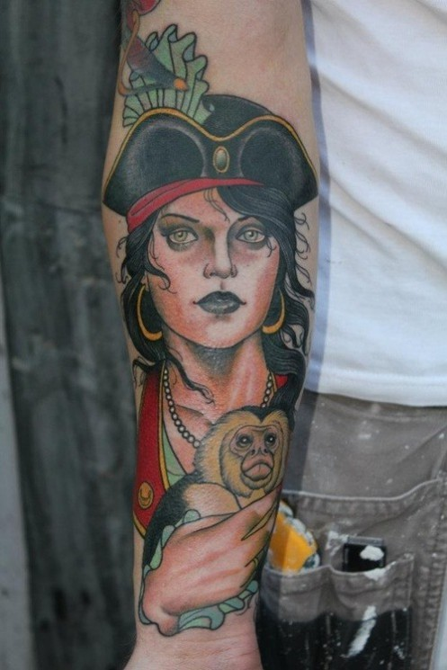 Funny Monkey Tattoo Picture On Arm