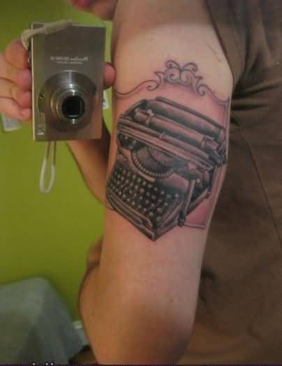 Funny Typewriter Tattoo Picture On Back Of Arm