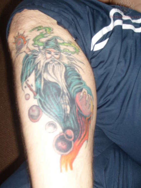 Funny Wizard Tattoo On Biceps