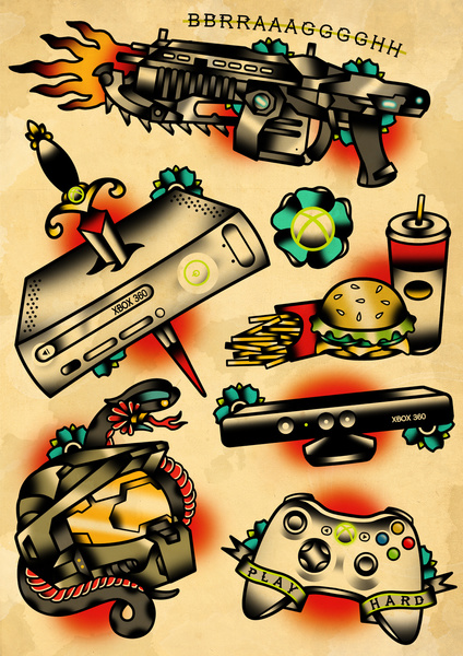 Game Controller On Red Rose Tattoos