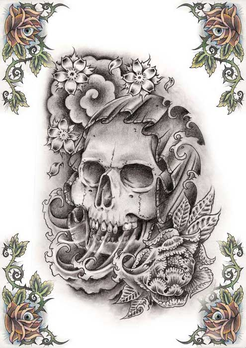 Gangsta Gun Skull Tattoo Designs