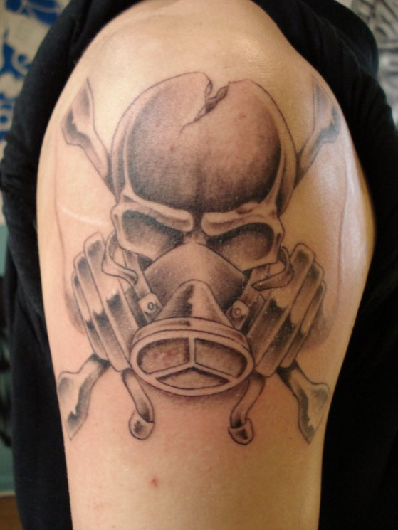 Gas Mask Skull Tattoo Design