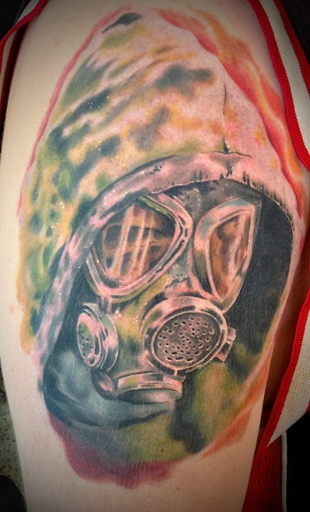 Gas Mask Tattoo On Biceps