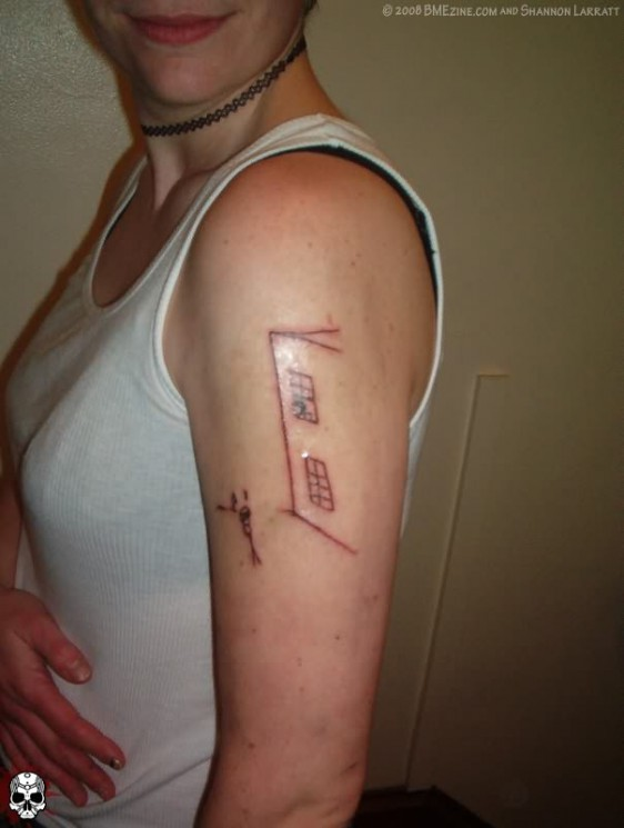 Geek Outline Tattoo On Left Arm