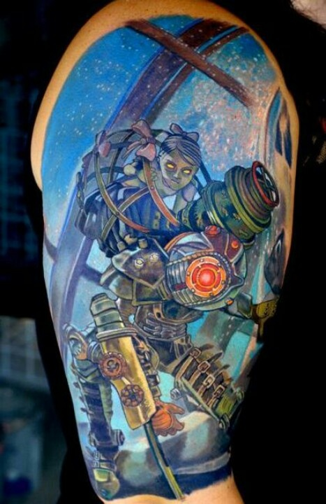 Geeky Video Game Tattoos On Sleeve