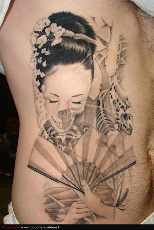 Geisha Skull Tattoo On Rib Side