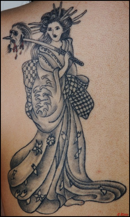 Geisha Tattoo On Back