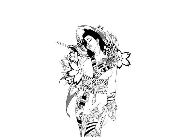 Geisha With Cat Tattoo Design