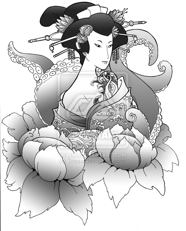 Geisha With Fan n Playing Cards Tattoo On Back