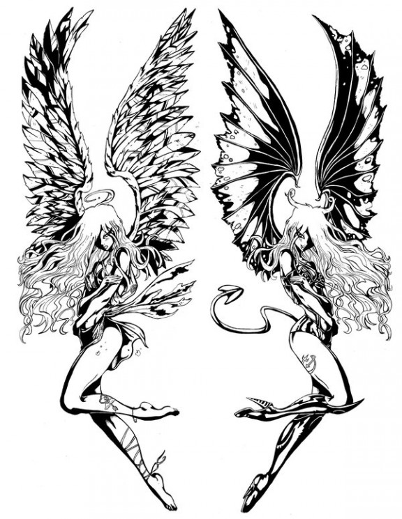 Gemini Angel n Devil Wings Tattoo Design
