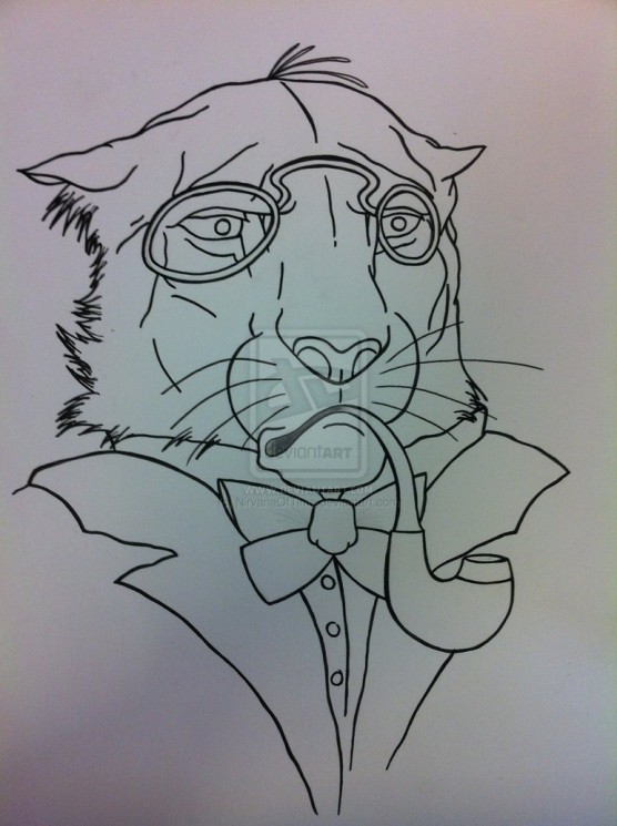 Gentleman Lion Tattoo Design