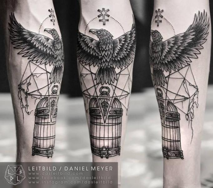 Geometric Crow And Cage Tattoos
