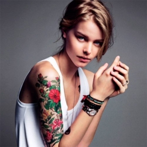 Girl With Colorful Sleeve Tattoos