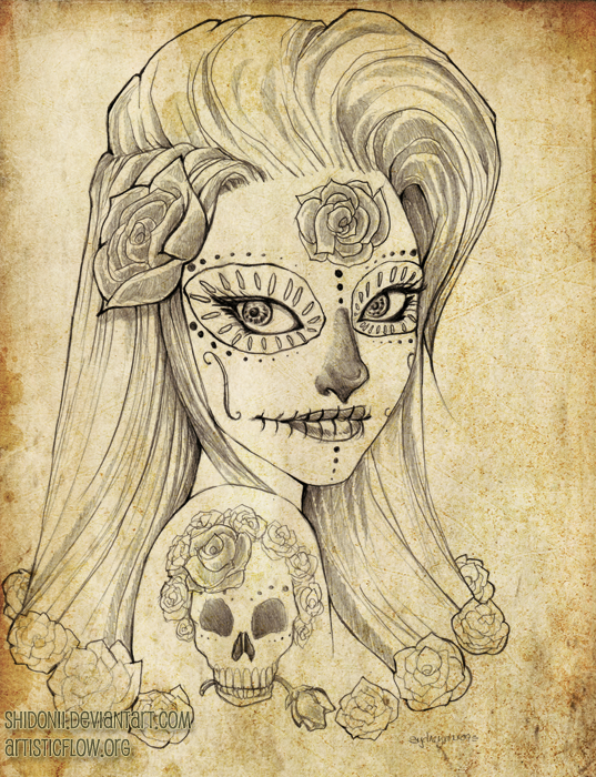 Girl With Dia De Los Muertos Tattoo Design