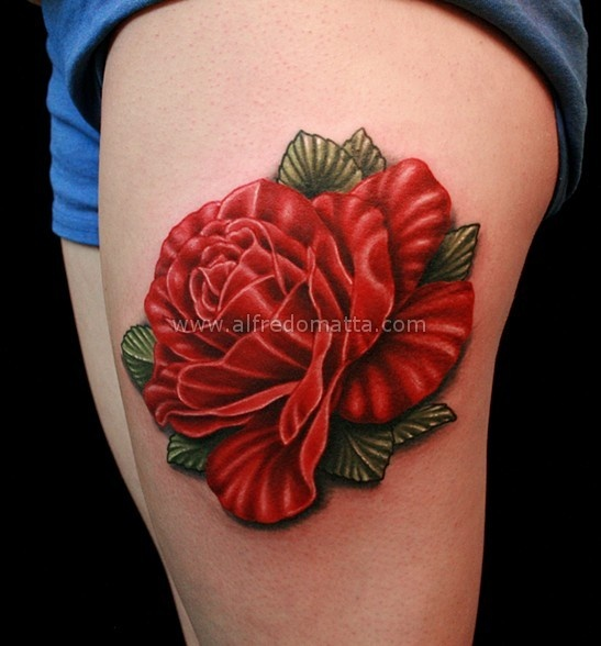 Glorious Realistic Red Rose Tattoo