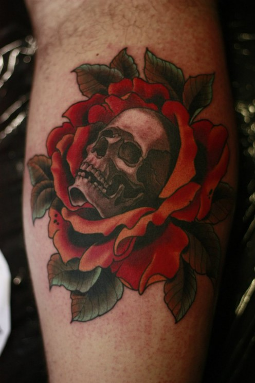 Glorious Red Rose And Skull Tattoos