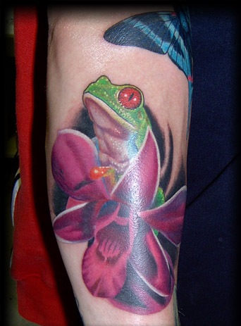 Glowing Frog With Pink Flower Tattoo Design