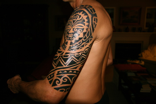 Glowing Half Sleeve Tattoo Design For Men