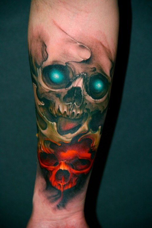Glowing Red Rose Tattoo On Elbow