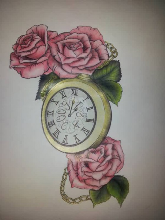 Golden Clock And Roses Tattoo Designs