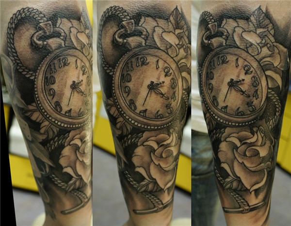 Golden Hour Glass Roses And Clock Tattoos
