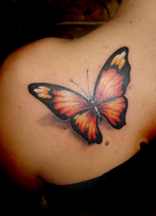 Gorgeous 3D Butterfly And Name Tattoos On Back Shoulder