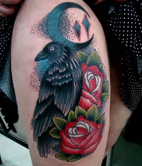 Gorgeous Crow And Pocketwatch Tattoos