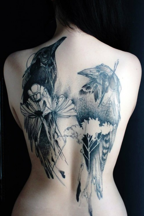 Gorgeous Crow Tattoo On Topless Back