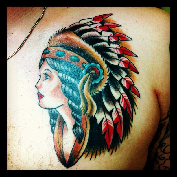Gorgeous Native American Girl Tattoo On Chest