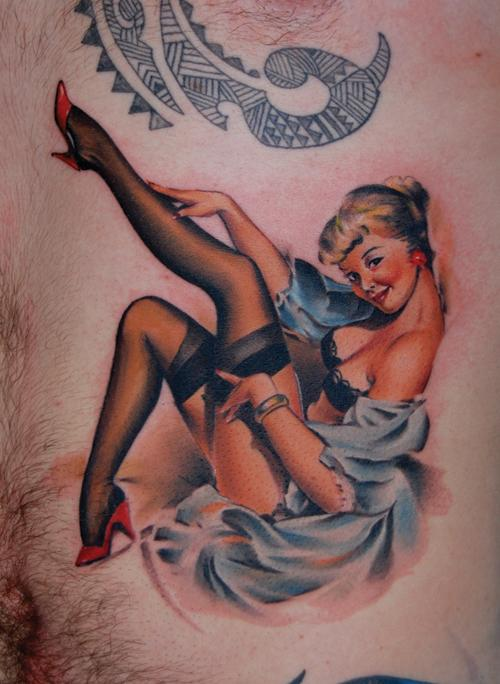 Gorgeous Pirate Pinup Tattoo On Sleeve