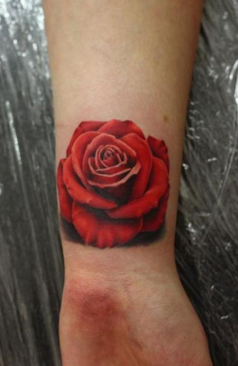 Gorgeous Red Rose Tattoo On Wrist