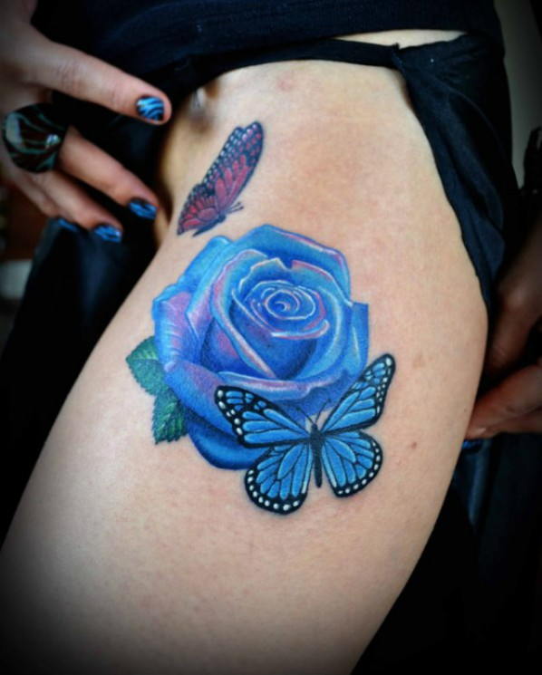 Gorgeous Rose And Blue Scorpion Tattoo