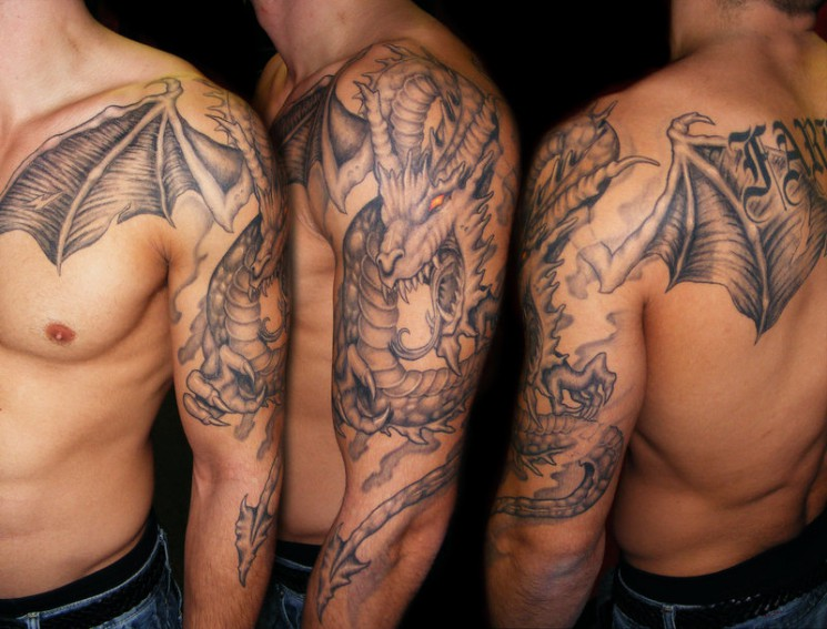 Gothic Dragon Tattoo On Back Of Girl