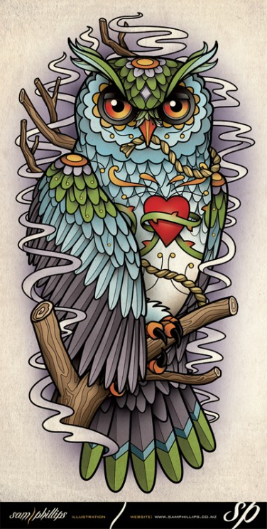 Gothic Owl Tattoo Design