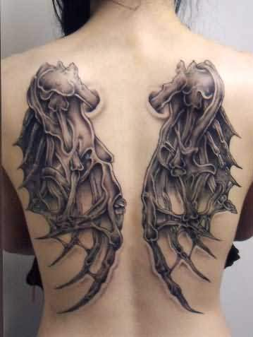 Gothic Wings Tattoo On Back Of Girl