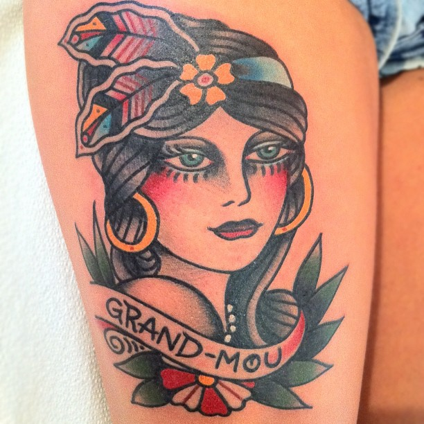 Grand Mou Gypsy Tattoo On Right Thigh