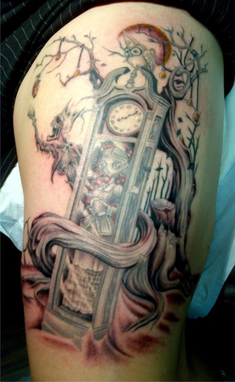 Grandfather Clock And Tree Tattoos On Thigh