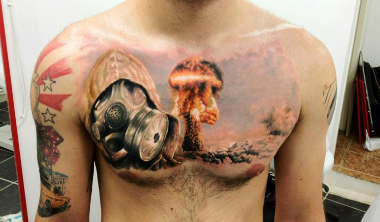 Great 3D Firefighter Tattoo On Chest