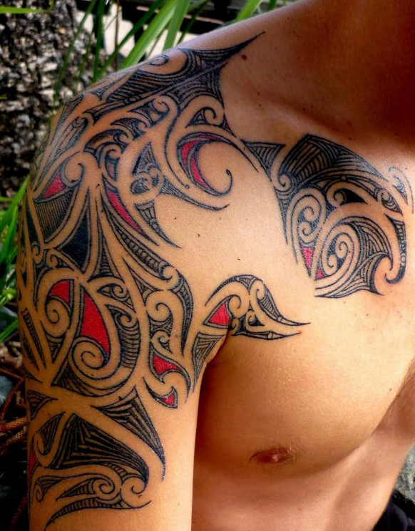 Great Asian Waves And Lotus Tattoos On Shoulder